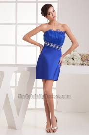 short mini royal blue beaded strapless party homecoming dresses