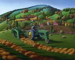 john deere tractor baling hay farm folk art landscape vintage