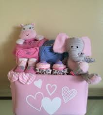 pink elephant and jungle friends baby gift basket lavish