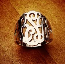 monogrammed rings silver sterling silver three initial monogram ring monogram rings