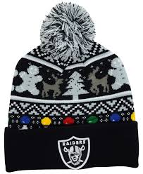 raiders christmas sweater with lights lyst ktz oakland raiders christmas sweater pom knit hat in black