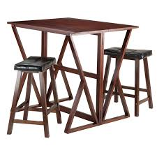 table with 2 stools winsome trading harrington 3 piece counter height dining table set