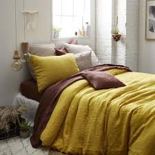 pure linen stonewashed bottleneck style duvet cover mustard yellow