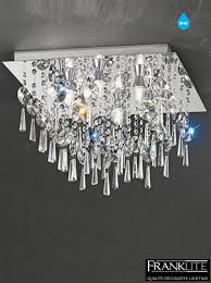 franklite 450mm 6 light crystal flush ip44 bathroom ceiling