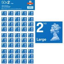 50 x large letter 2nd class self adhesive stamp sheet at royal
