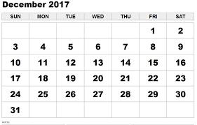 December 2017 Calendar Template Free