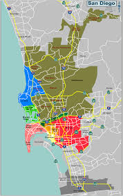 San Diego International Airport Map by Map Defining Major Districts Of San Diego