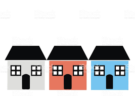 three houses three houses with window door and roof various colours vector icon