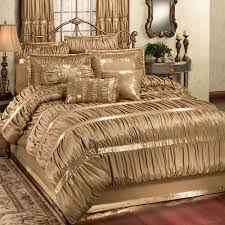 Michael Amini Bedding Clearance Splendor Shirred Faux Silk Dark Gold Comforter Bedding Gold