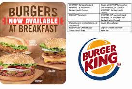 burgers for breakfast menu at burger king new fast food