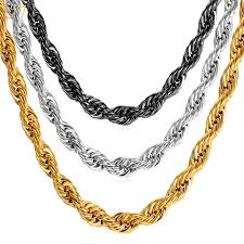 rock chain necklace images U7 hip hop rope necklace for men gold color thick stainless steel jpg