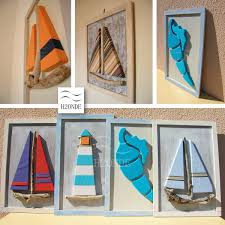 driftwood framed sailboat wall art decor modern 3d beach original