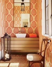 Design Tips For Your Home Powder Room With Peach Wallpaper Decorating Tips For Your Powder