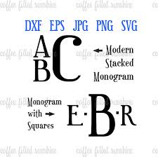 stacked monogram stacked font boys modern stacked font digital instant