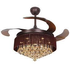 Ceiling Fan With Chandelier Crystal Led Ceiling Fan With Foldable Blades Oil Rubbed Bronze