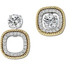 diamond earring jackets gottlieb sons 14k two tone diamond earring jackets with rope