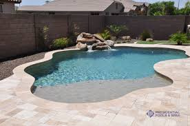 simple and small pool with sand bar by presidential pools cool
