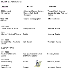 Sample Audition Resume by Russian Dancer Anna Brovkina