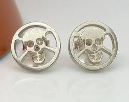 skull stud earrings maleficent waxen skull stud earrings men s stud earrings