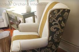 Wingback Chair Ottoman Design Ideas Furniture Modern Floral Wing Chair Slipcover Design Appealing