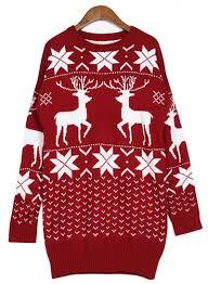 neck sleeve pullover deer sweater azbro