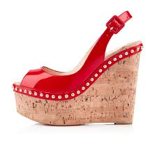 louboutin uk christian louboutin wedges monico 140 mm red patent