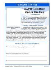 finding the main idea 20 000 leagues under the sea worksheet