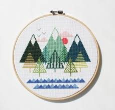 sea to sky modern counted cross stitch pattern instant