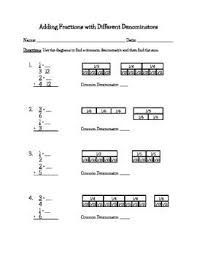 free worksheets adding and subtracting fractions with different