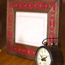 threadwork photoframe timepiece wood vibrant summer home