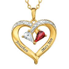 personalized heart pendant forever together personalized gemstone diamond heart pendant