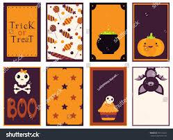 Halloween Card Invitation Set Vector Halloween Cards Orange Black Stock Vector 709116220