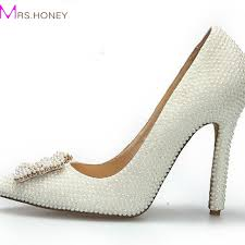 Wedding Shoes Sandals Aliexpress Com Buy Fashion Pointed Toe Pearl Wedding Shoes Ivory