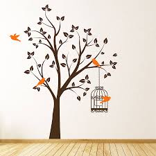 tree with bird cage wall stickers by parkins interiors tree with bird cage wall stickers