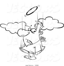vector of a cartoon falling male angel trying to flap his tiny