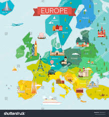 map travel map europe name countries travel tourism stock vector 542643679