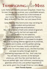 prayer before after mass thanksgiving catholic prayers and