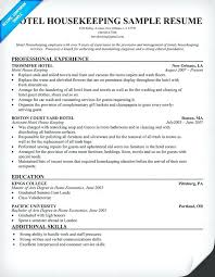 Sample Resume For Housekeeping Sample Hotel Resume Cozy Design Resume Samples For Customer
