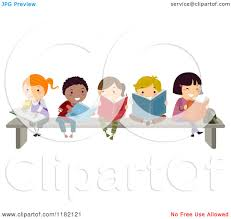 kids reading bench cartoon of a group of happy diverse children reading books on a
