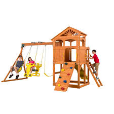 creative cedar designs timber valley swingset 3512 the home depot