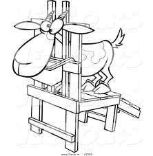 milk coloring pages vector of a nervouse cartoon goat standing in a milk stand