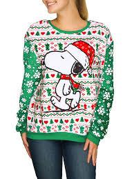 snoopy christmas sweatshirt hybrid apparel women s santa snoopy sweater