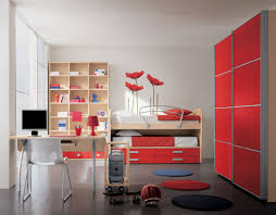 Single Bed Designs For Teenagers Boys Bedroom Colors For Kids With Awesome Red Cabinet And Wooden Bunk
