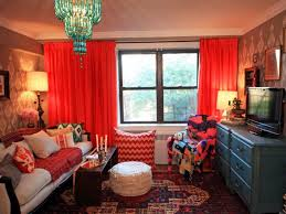 living room red velvet fabric curtains decorating ideas with