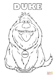 duke from the secret life of pets coloring page free printable