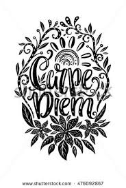 carpe diem seize day phrase stock vector 476092867