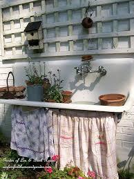 Outdoor Potting Bench With Sink My Favorite Garden Repurpose Potting Sink Fountain Hometalk