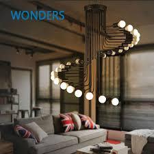high ceiling light fixtures loft modern pendant light iron minimalist spiral staircase l drop