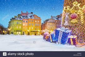 outdoor winter snow christmas tree decoration warsaw poland