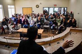 in a small minn town that went for trump a muslim doctor tries dr ayaz virji 42 gives his lecture on islam at city hall in